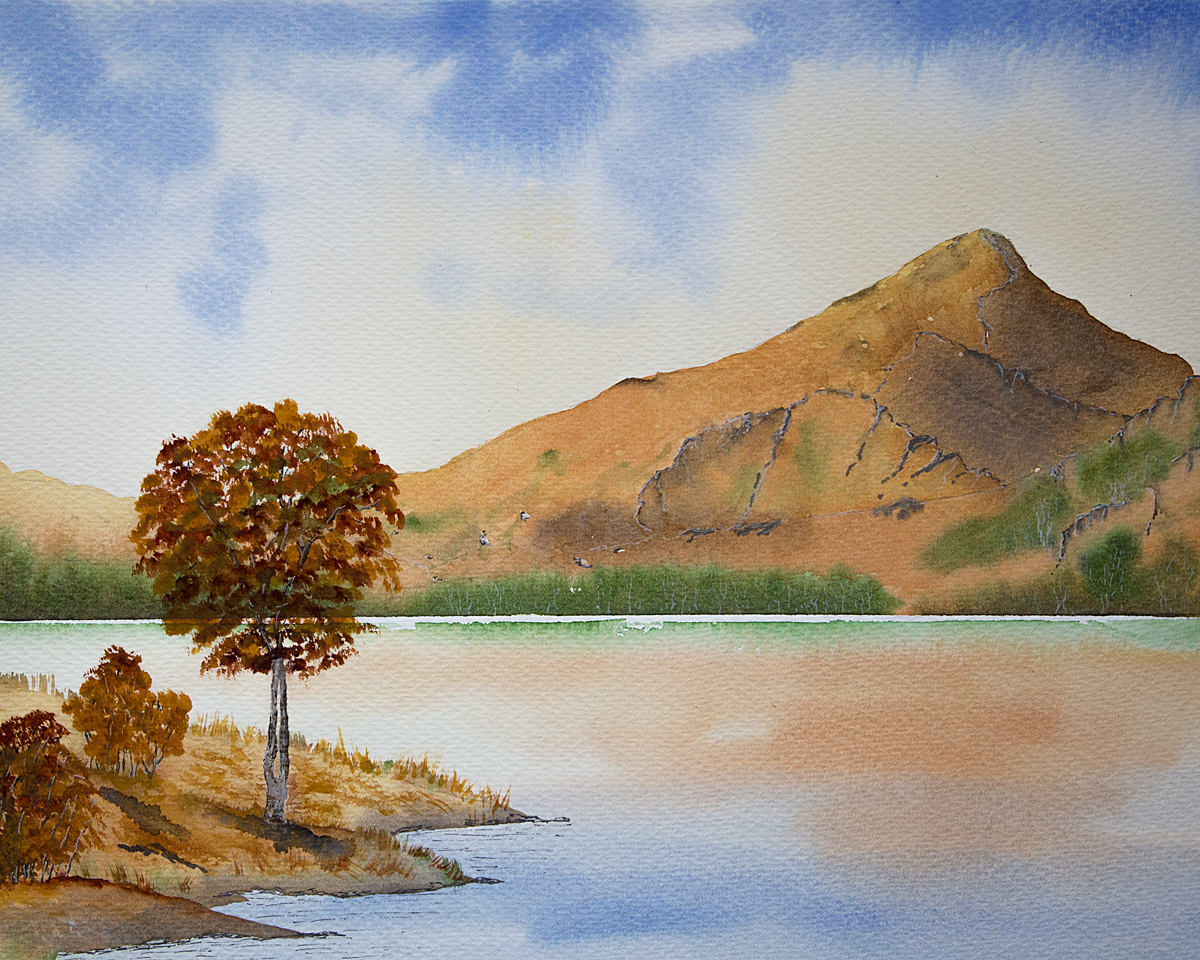Original watercolour painting of Llyn Gwynant and Yr Aran, Snowdonia