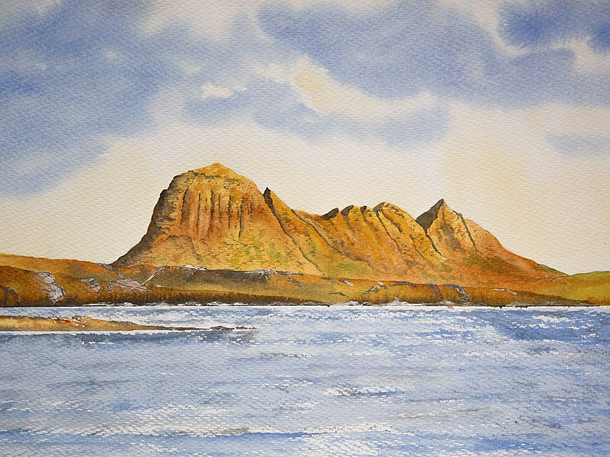 Original watercolour painting of Suilven from Fionn Loch, Assynt