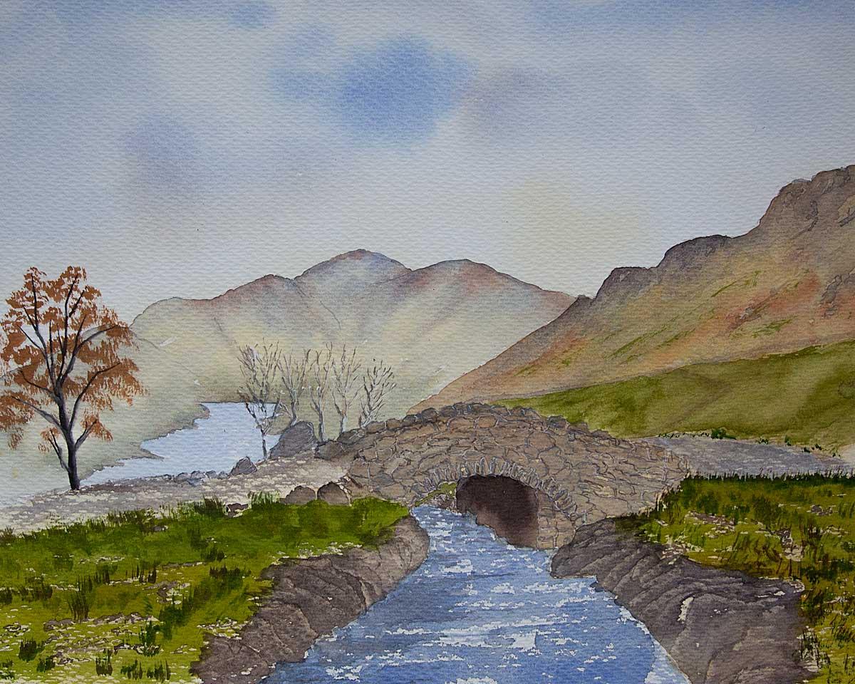 Original watercolour Painting of Ashness Bridge, Derwentwater, The Lake District