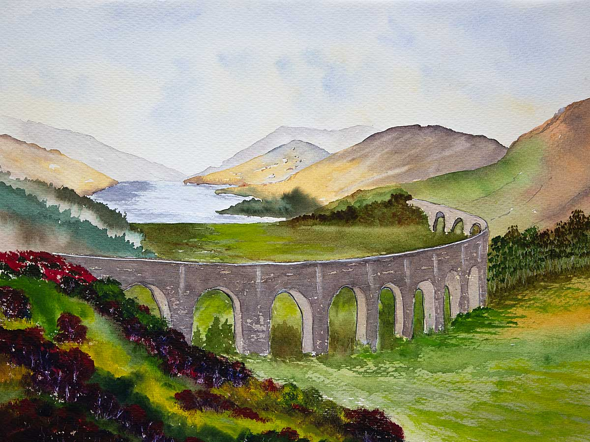 Original watercolour painting of Glenfinnan Viaduct, Lochaber, Scottish Highlands
