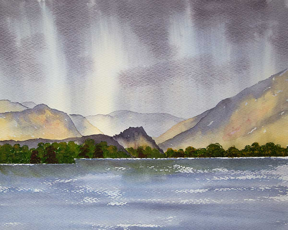 Original watercolour Painting of Jaws of Borrowdale across Derwentwater