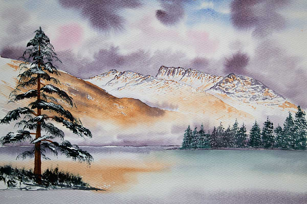 Original Watercolour Painting of Ben nevis from Clunes Bay in Winter