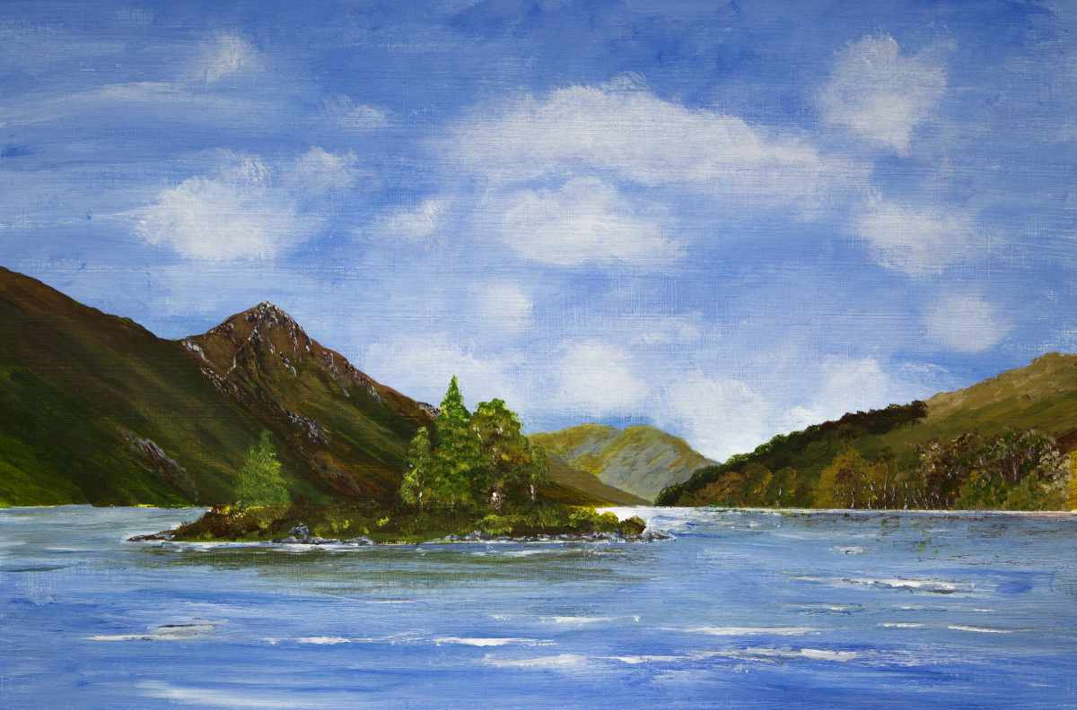 Pap of Glencoe, original acrylic painting of the view from Kinlochleven