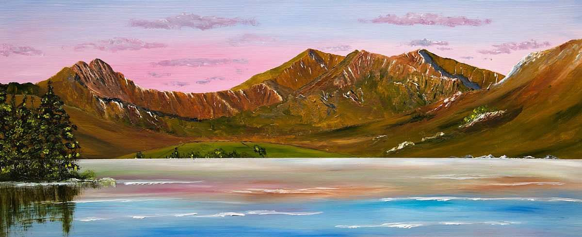 Oil painting of the Snowdon Horseshoe from Royal Bridge