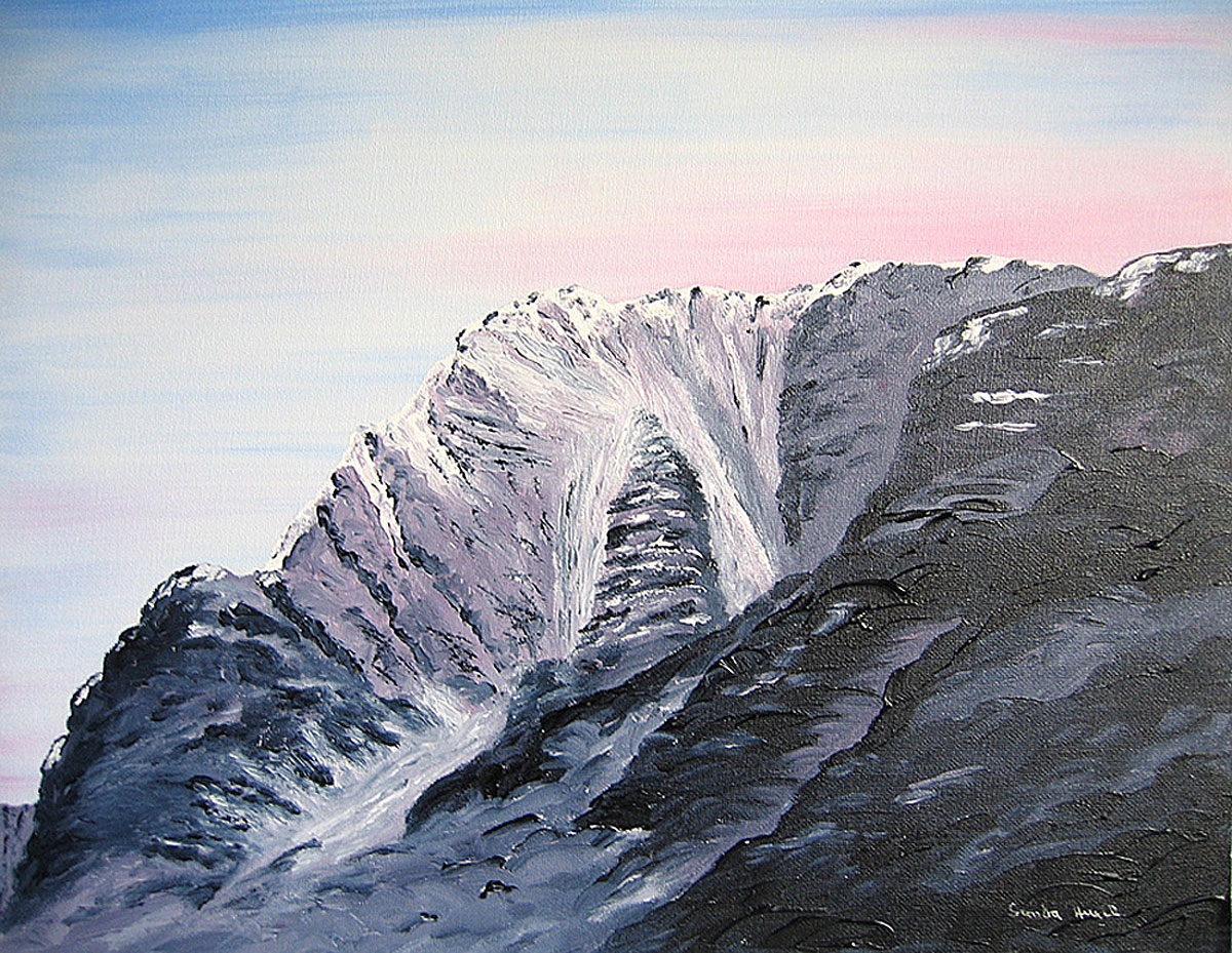 North East Buttress of Ben Nevis original oil painting on canvas board