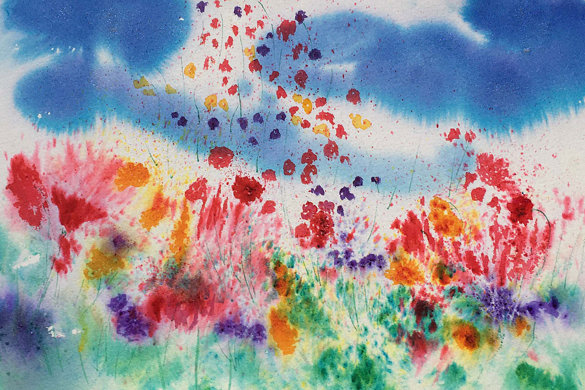 Original Brusho painting of Scottish Highland Wild flowers