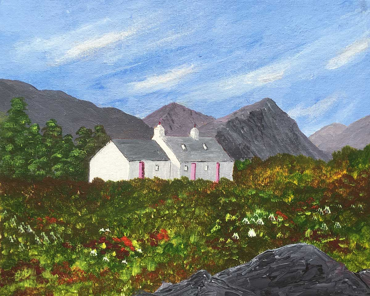 Original acrylic painting of Blackrock Cottage, Glencoe with the Buachaile Etive
