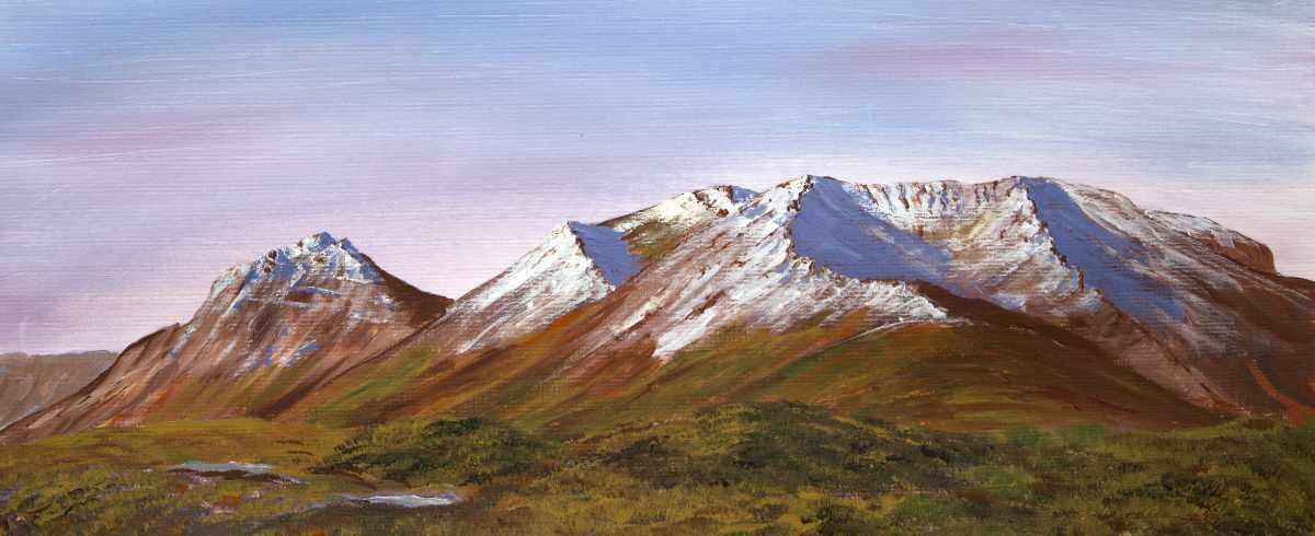 Torridon mountain landscape painting in acrylics