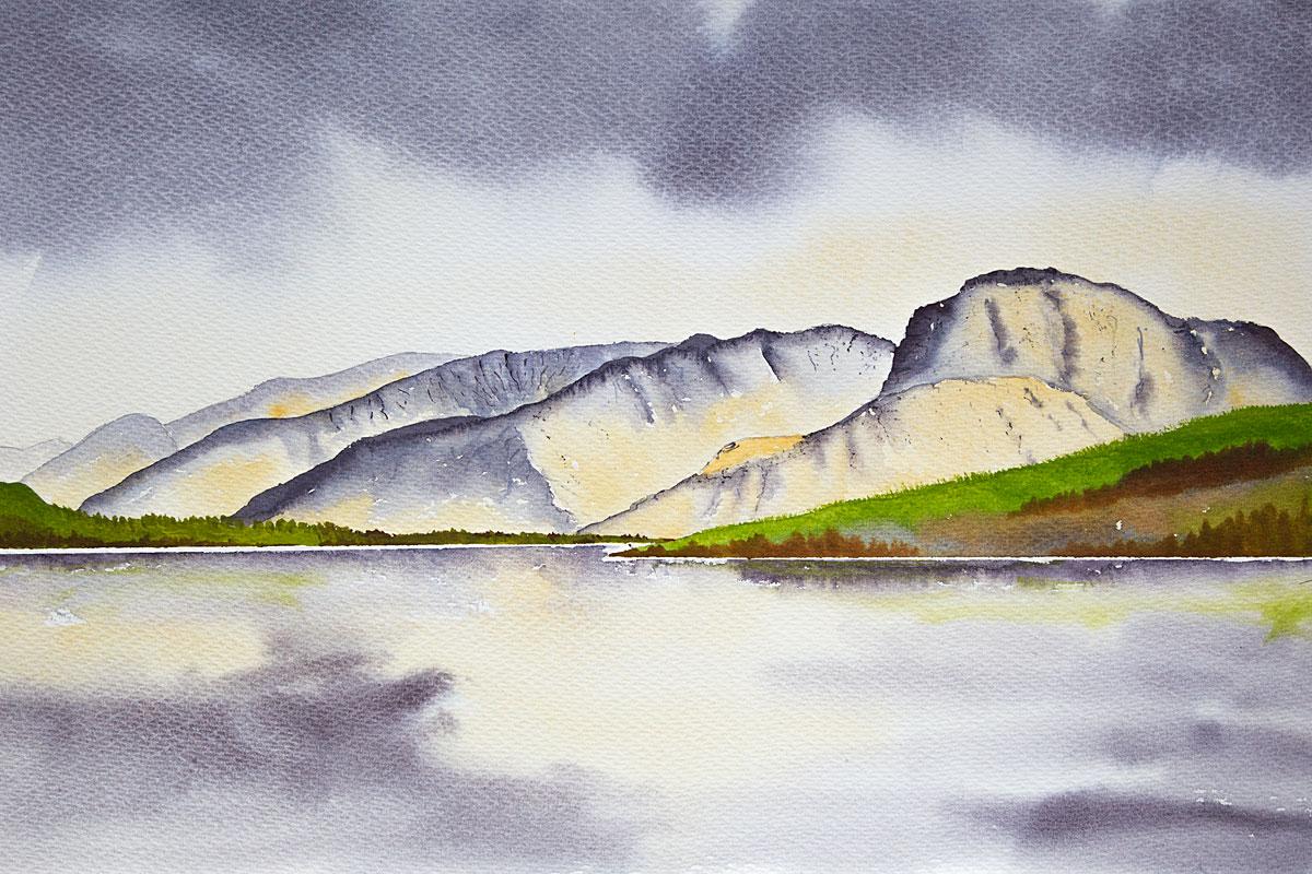 Ben Nevis and Nevis range original watercolour painting of Scottish Highlands