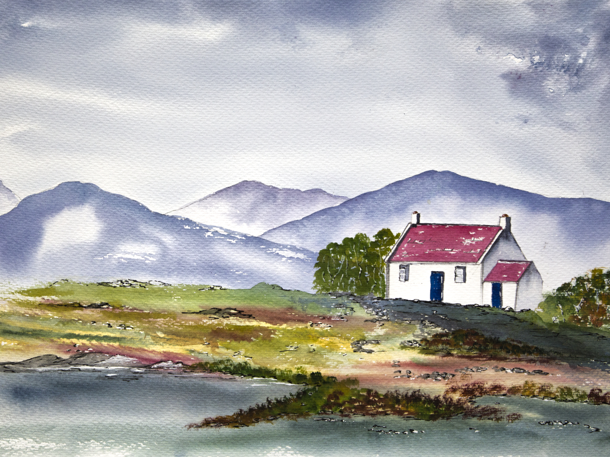 Scottish Highland Bothy with misty mountain original watercolour painting