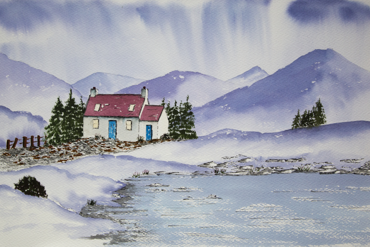 Scottish Highland Bothy in the snow, original watercolour painting