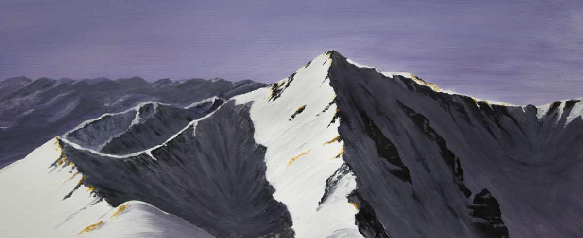 Carn Mor Dearg Arete, Ben Nevis, original panoramic acrylic painting