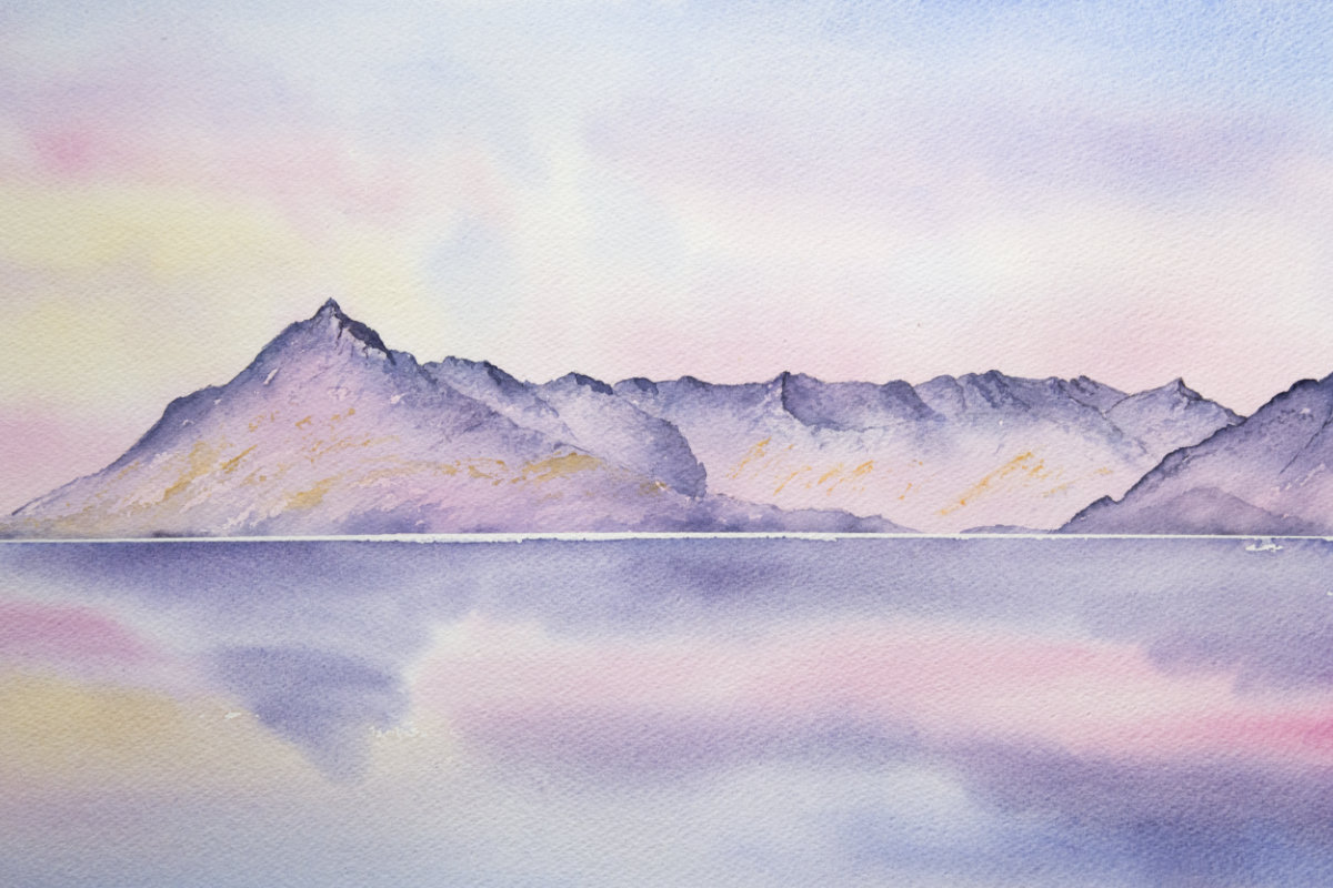 Cuillin of Skye sunset original watercolour painting of Isle of Skye