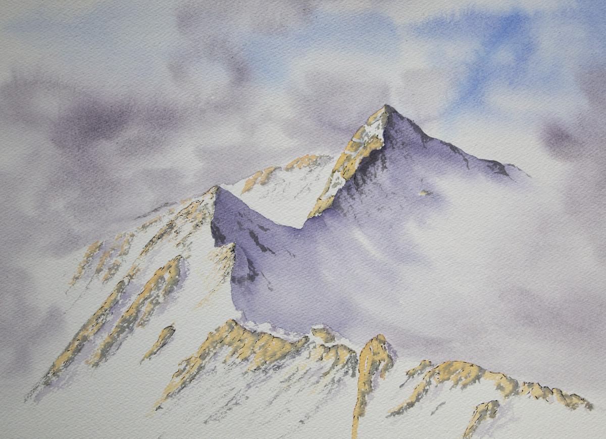 Forcan Ridge, Glen Shiel original watercolour painting of Scottish Highlands mountains in winter