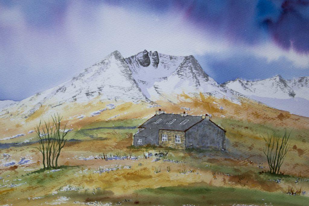 Shenavall Bothy and Beinn Dearg Mor, original watercolour painting