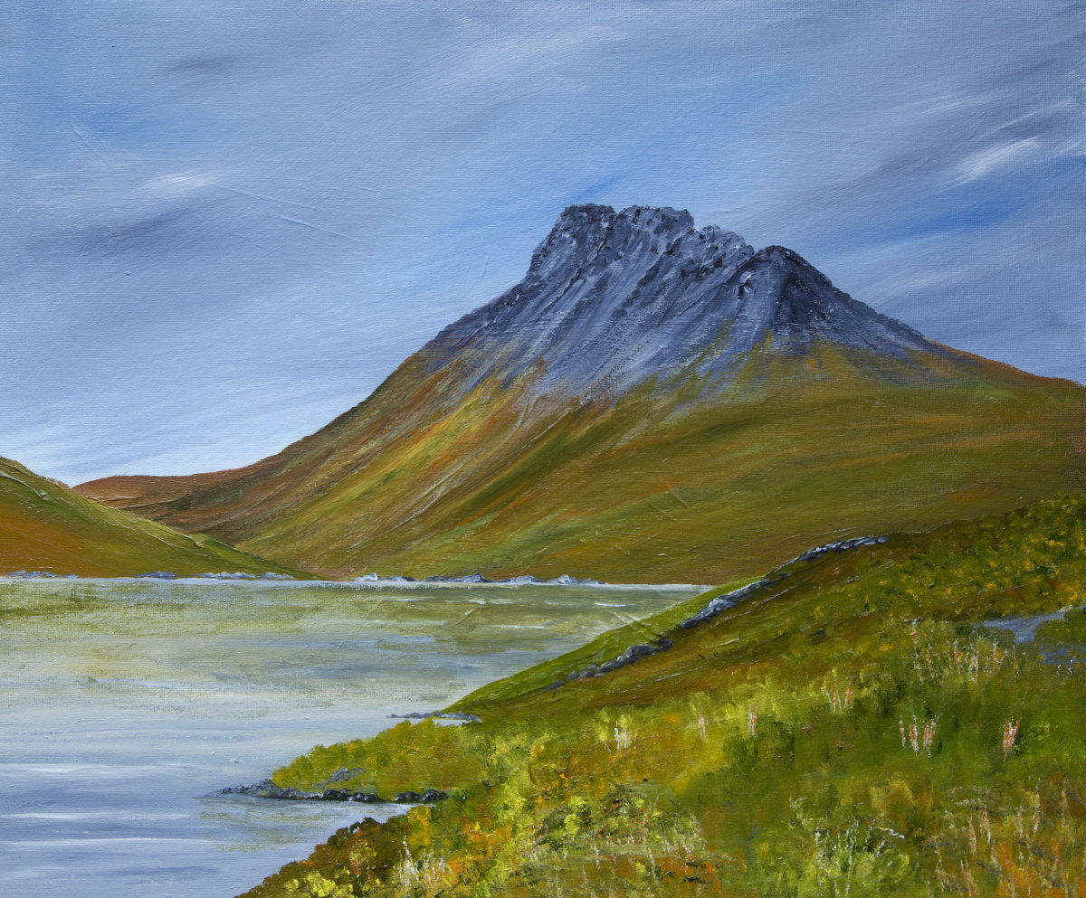 Stac Pollaidh, Scottish Highlands mountain landscape oil painting