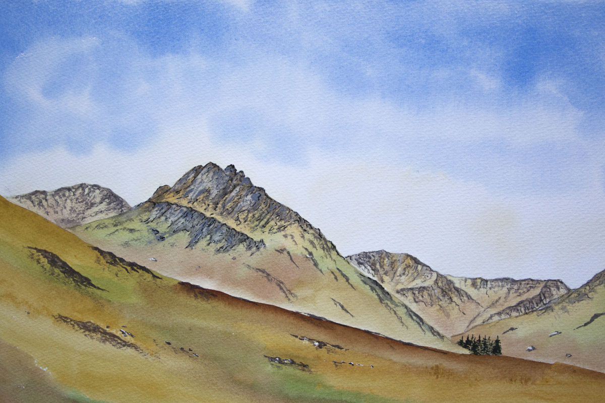 Tryfan and Ogwen valley original watercolour painting of Snowdonia