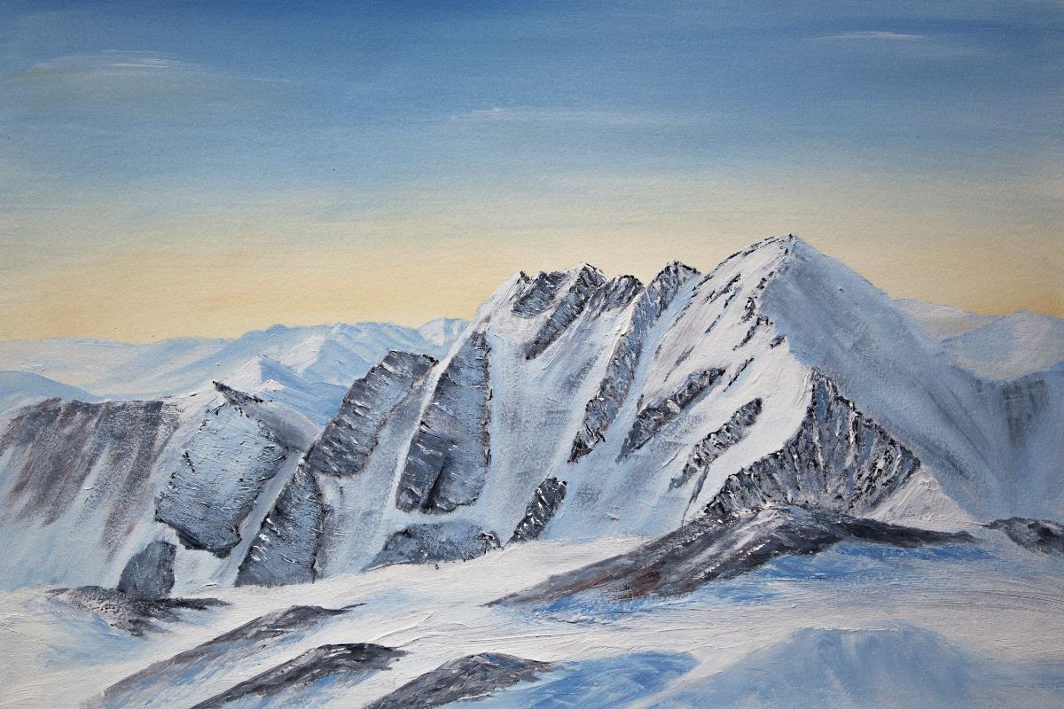 An Teallach in winter mountain oil painting for sale