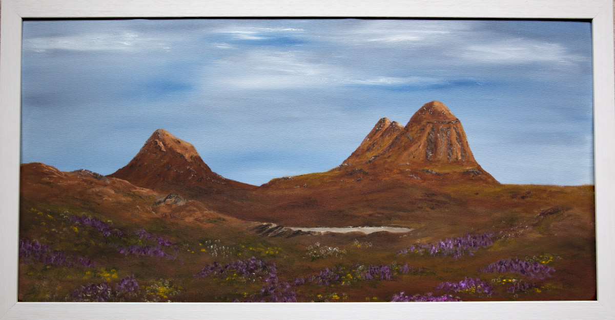 Suilven and Canisp Assynt mountain oil painting