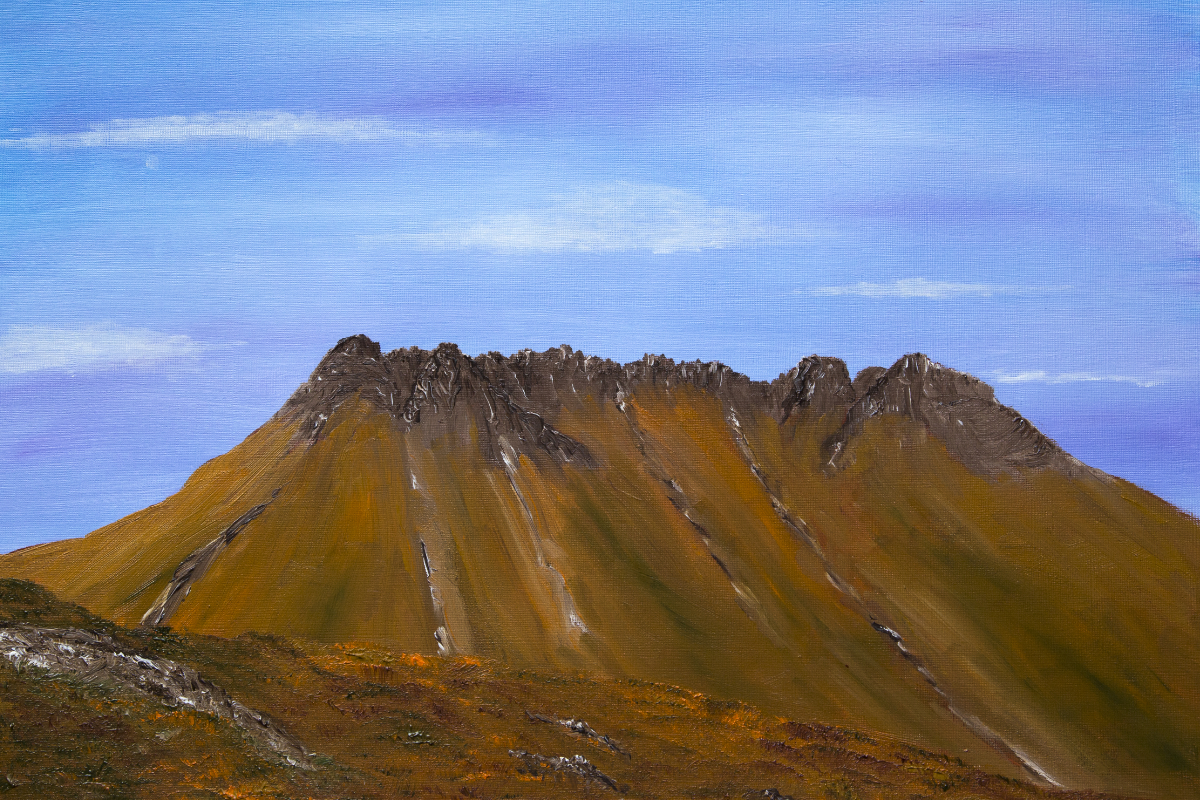 Stac Pollaidh in Autumn, landscape oil painting of Scottish Highlands