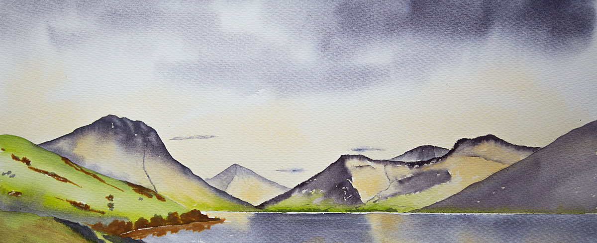 Wastwater and the Scafells, Watercolour panoramic painting for sale of The Lake District