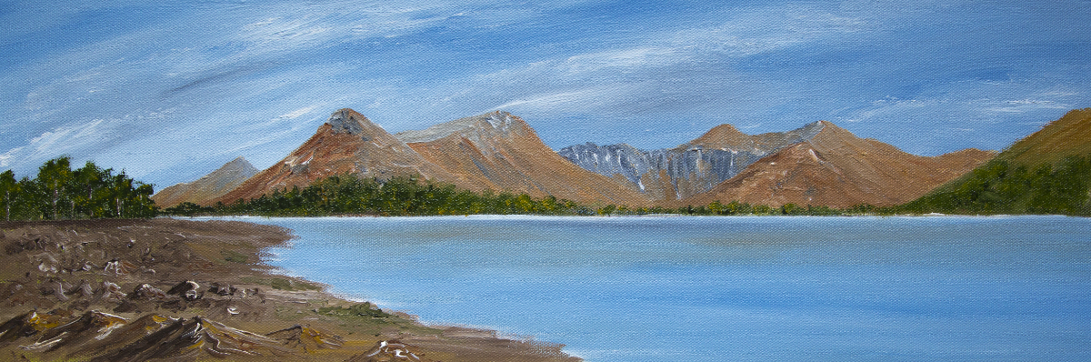 Pap of Glencoe and Loch Leven panoramic landscape oil painting